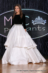 Miss USA 2017 Pageant Evening Gowns Ball Gown Black and White Beaded Puffy Satin Long Sleeves 2K17 Prom Dresses Custom Made Sweep Train on Sale