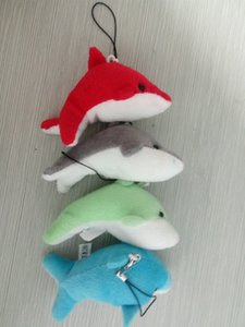 Wholesale 4 color Stuffed dolphin Plush Doll Keychain animal keyring Plush Doll Toys