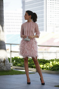 Wholesale Modest blush Feather Short Party Dresses 2019 Pink Long Sleeves Open Back With Bow dubai arabic Mini Prom Gowns Cocktail Dresses