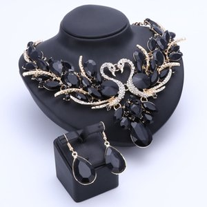 Wholesale black prom jewelry set resale online - Fashion Crystal Bridal Jewelry Sets Black Swan Gold Plated Women Gift Party Wedding Prom Necklace Earring Accessories Sets