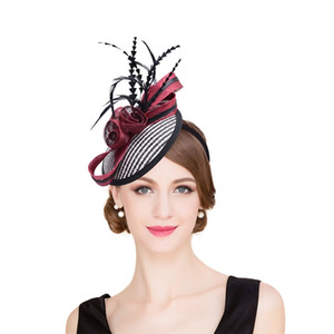 les plumes des femmes aux églises achat en gros de-news_sitemap_homeFemmes Sinamay Base De Raphia Fascinator Plume Cocktail Parti Chapeau De Mariage Église Robe Kentucky Derby Bandeaux T221