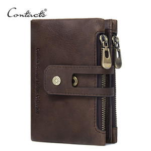 CONTACT'S Genuine Leather Men Wallet Small Men Walet Zipper&Hasp Male Portomonee Short Coin Purse Brand Perse Carteira For Rfid on Sale
