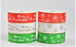 Wholesale thread 25mm resale online - 100yards a roll mm width Merry Christmas red green white snowflake Thread ribbon Decorating party supplies DIY accessories gift wrap
