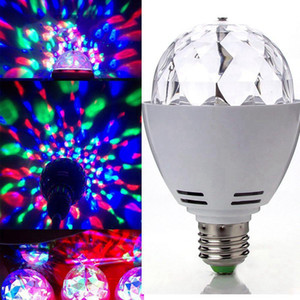 Wholesale Edison2011 New W E27 B22 RGB Lighting Full Color LED Crystal Stage Light Auto Rotating Stage Effect DJ Lamp Mini Stage Light Bulb