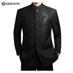 Wholesale Wholesale- Chinese style wedding suits set male black stand collar chinese tunic suit Plus Size S-3XL