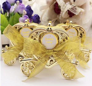 Wholesale gold wedding carriage for sale - Group buy Love Carriage Wedding Box Party Favours Gift Candy Chocolate Box Gold and Silver Box for Wedding Baby Birthday Party