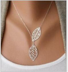 Wholesale gold leaves resale online - Vintage Punk Gold Hollow Two Leaf Leaves Pendant Necklace Clavicle Chain Simple European New Fashion Charm Jewelry Women Christmas Gift
