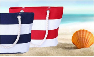 Women Printed Beach bag Stripe Canvas Handbag Foldable Shopping Water Ripple Tote Shoulder bag Free shipping