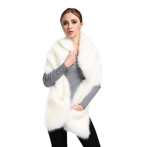 Wholesale Top Quality New Fashion Hot Sell Winter Ladies Faux Fox Fur White Shawl Scarf Women s Warm Wrap Stole Scarves DM