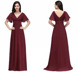 Wholesale floor carpets online for sale - Group buy Price Dark Red Long Chiffon Evening Dresses V Neck Low Back Flowy A Line Evening Party Gowns with Speaker Sleeves Cheap Online