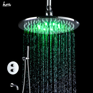 Wholesale hm quot LED Shower Big Rain Brass Bathroom Kit Wall Mounted Saving Water Spout Thermostatic Shower Mixer