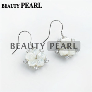 Wholesale 925 sterling silver big earring for sale - Group buy Bulk of Pairs Earring Findings Sterling Silver Big Flower White Shell Zircon Earring Pearl Mount