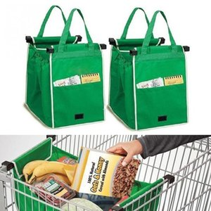 Wholesale 100pcs New Grab Bag Reusable Ecofriendly Shopping Bags That Clips To Your Cart Foldable Shopping Bags Reusable Eco Shopping Tote