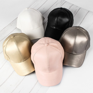 Wholesale Adjustable DIY Blank Hats Korean version of PU leather material light body baseball cap four seasons wild cap