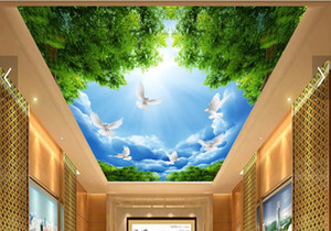 Wholesale 3d ceiling wallpapers for living room custom 3d ceiling Blue sky white clouds white pigeons Nonwovens wallpaper for sky ceiling