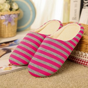Wholesale Women Winter Warm Slippers Indoor Floor Shoes Non slip House Shoes Striped Slippers Men