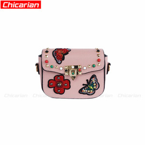 Wholesale butterfly print messenger bag for sale - Group buy Chicarian Fashion Butterfly Women Rivets Purses Bags Teenagers Designer Messenger Stylish Bag Kids Mini CA006 Kid Shoulder Girls Br Tvehj