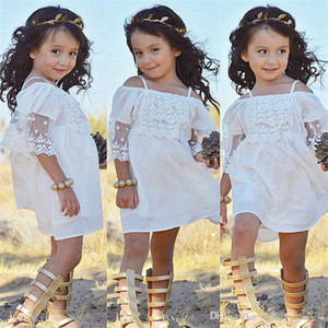 Wholesale 5t dresses sale resale online - Cheap Cute Country Flower Girls Dresses For Baby Spaghetti Straps Lace Short Wedding Party Gowns For Little Kids Online Sale