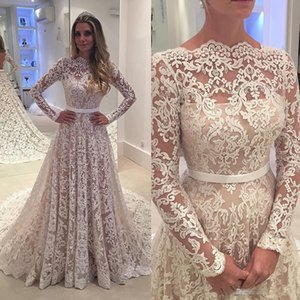 Wholesale Robe De Soiree Long Sleeves Lace Wedding Dresses Arabic Lace Sheer Bateau Neck Custom Made See Through Back Bridal Gowns with Belt