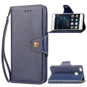 Wholesale New Coming Luxury Retro Wax Oil Flip Soft PU Leather Cover Case for Huawei P8 Lite P9 Lite
