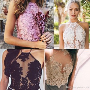 Wholesale 4 colors Europe and America hot selling Style Sexy embroidery hollow lace hanging neck condole top coat women s clothing
