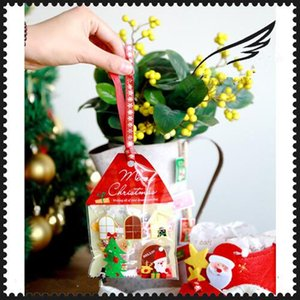 Wholesale Christmas Tree Cookike Bag House Type Gift Packaging for Cookies Self Adhesive Candy Plastic Bag