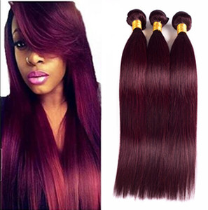 99J Color Straight Human Hair Bundles Peruvian Virgin Human Hair Weaves 3Pcs lot Wine Red Unprocess Straight Hair Wefts Fast Shipping