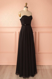 2019 Sexy black Evening Dresses Shining beading along waistline Chiffon Long Prom gowns Zipper Back Dresses Evening Wear on Sale