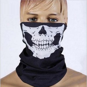 Wholesale New Skull Skeleton Veil Outdoor Motorcycle Bicycle Multi Headwear Hat Scarf Half Face Mask Cap Neck Ghost Scarf Halloween Mask
