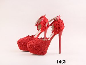 Wholesale Red Lace Women High Heeled Sandals Bridal Bridesmaid Wedding Shoes with Straps Sexy Prom Evening Night Club Party Heels CM Heel