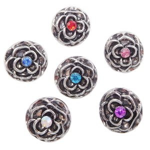 Wholesale B072 Women Noosa Metal Rose Flowers Chunks MM Mini Ginger Snap Button Jewelry for Noosa DIY Bracelets