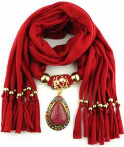 Antique Gold Drop Pendant Scarves With Resin colorful rinstone Unique Jewelry Beads scarf shawl Free shiping