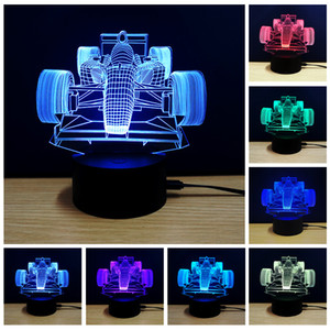 Wholesale usb led night light d lights touch control colors acrylic lamp D moto F1 car plane animal horse football tower christmas tree gift