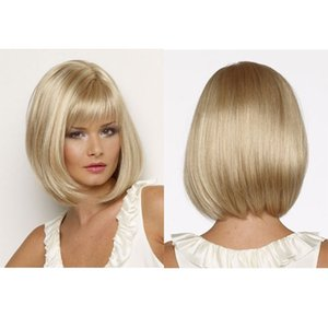 Wholesale Popular Blonde hair Straight Short Bob Wig With Bangs For Women Synthetic High Heat Fiber Wigs Full Lace Wig Senior Silk Mix Length