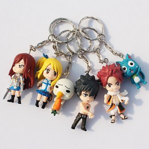 Wholesale 6Pcs Set Fairy Tail Figure Character With Keychain Pendant PVC Figures Toys Great Gift cm Approx