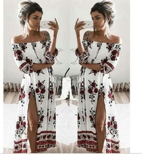 Wholesale 1PCS Boho style long dress women Off shoulder beach summer dresses Floral print Vintage chiffon white maxi dress vestidos de festa M03