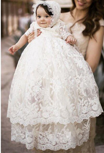 Wholesale High Quality Baptism Gown Baby Girls Christening Dress White Lace Applique Toddler Robe With Bonnet 0-24month