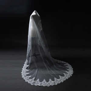 Wholesale 2017 real picture New white ivory m Long Bridal Veils lace edge one layer wedding veils Accessories cathedral length