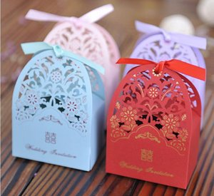 Wholesale wedding cards boxes resale online - Laser Card Hollow Flower Candy Boxes Traditional Wedding Favor Box Favor Holder Gift Boxes with Ribbon