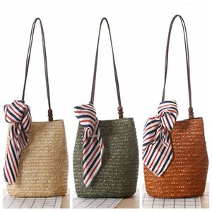 Wholesale 2017 Bohemian Style Wood Beading Women Handbag Wheat Straw Woven Shoulder bag Silk Scarf Beach bag Girl Travel Messenger bag with ribbon