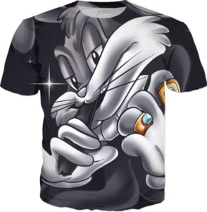 Wholesale 2017 Newest Fashion Summer Men Women Cartoon Bugs Bunny Harajuku Style Funny d Print Casual T shirt S XL H125
