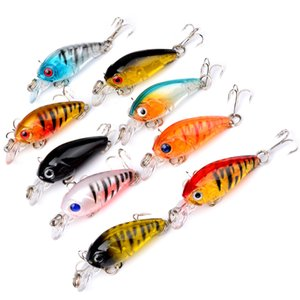 Wholesale 9 color cm g Hard Plastic Lures Fishing Hooks Fishhooks D Eyes Fishing Baits Hook Artificial Pesca Tackle Accessories