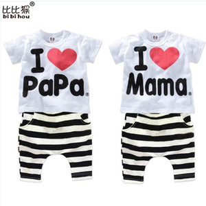 Wholesale papa clothing for sale - Group buy New Summer Children Baby Clothing Sets Kids I love papa mama Clothes Suit Boys Girls T shirt Striped Pants Pajamas Sets