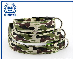 Wholesale 2 CM Width Flash Dog Collar LED Camouflage Pet Collars LED Flash Collars Nylon Dog Collars Pet Safety Supplies Size S M L