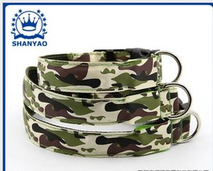 Wholesale Flash Dog Collar LED Camouflage CM Wideth S M L Size LED Flashing Dollars Pet Safety Collars Nylon Dog Collars