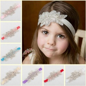 Wholesale handmade infant headbands for sale - Group buy Baby Girls Headband Infant Kids Rhinestone Elastic Leaf Shape Hairband Handmade Hair Bands Children Hair Accessories Party Headwear