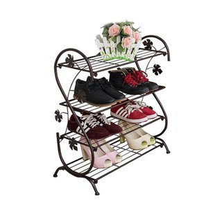 Wholesale Metal Iron Handmade Simple S Type Shoe Rack Modern Creative Multilayer Shoe Shelf Four Layers Room Floor Slippers Rack ZA4930