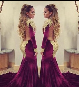 Wholesale Stunning Burgundy Velvet Mermaid Evening Celebrity Red Carpet Dresses 2017 with Golden Lace Sequins Applique High Neck Backless Formal Gowns