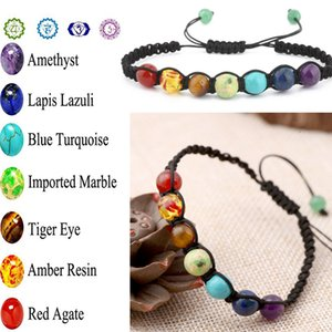 Wholesale Lava Rock Healing Balance Round Braided Rope Energy Bracelets Beautiful Mixed Woman Stone Beads Braiding B125S