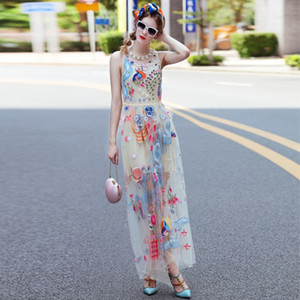 Wholesale Milan Runway Dress Sheer Mesh Colorful Embroidery Diamonds Beads Bohemian Long Dress Sleeveless Maxi Gown S0617011
